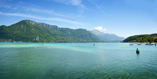 Panorama of lake Annecy Stock Photography