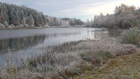 Panorama of lake in the autumn frost. The Village Bugrovo, Pushkinskie Gory. Russia. Panorama of lake in the autumn frost. The Village Bugrovo, Pushkinskie stock video