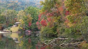 Panorama of the Lake at Unicoi State Park Showing the Fall Color. Panorama of the Lake and Beach at Unicoi State Park, Georgia Showing the Fall Colors royalty free stock image