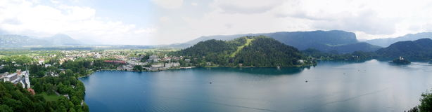 Panorama of Lake Bled. Slovenia Royalty Free Stock Images