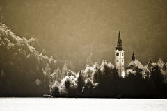 Panorama of Lake Bled in autumn. Stock Photo