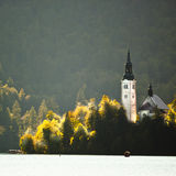 Panorama of Lake Bled in autumn. Stock Images