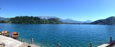 Panorama of Lake Bled, Slovenia Royalty Free Stock Photography