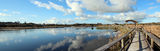 Panorama of the Lake with Board walk Royalty Free Stock Images