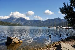 Panorama of Lake Caldonazzo and the mountains of Valsugana. Trentino Alto Adige. Caldonazzo Lake is a Trentino lake, the largest of them entirely within the royalty free stock photo