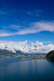Panorama of Lake Como and Alps, Italy. A view of Lake Como, Italy Royalty Free Stock Photography