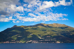 Panorama of Lake Como and Alps, Italy. A view of Lake Como, Italy royalty free stock images