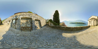 Panorama of Lake Como, the church of San Giacomo, Ossuccio; Royalty Free Stock Images