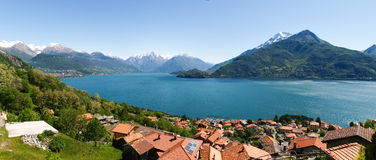 Panorama of the Lake of Como from the Mountains Royalty Free Stock Image