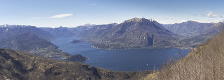 Panorama of Lake Como, view of Bellagio and Como branch Stock Images