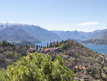 Panorama of Lake Como, view of Bellagio and Como branch Royalty Free Stock Photo