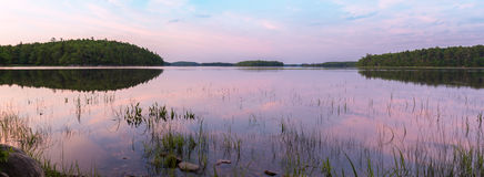 Panorama of the lake at dawn Royalty Free Stock Photography