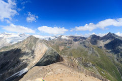 Panorama with lake Eissee, mountain Weissspitze and glacier Grossvenediger, Hohe Tauern Alps, Austria Royalty Free Stock Photo