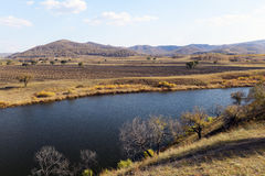 Panorama of lake and field in inner mongolia Stock Photos