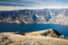 Panorama of Lake Garda seen from the top of Mount Baldo, Italy. Stock Images
