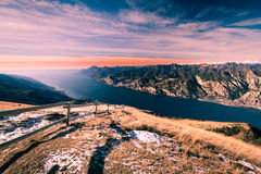 Panorama of Lake Garda seen from the top of Mount Baldo, Italy. Royalty Free Stock Photo
