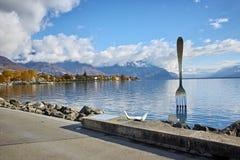 Panorama of Lake Geneva from town of Vevey, Switzerland Royalty Free Stock Photography