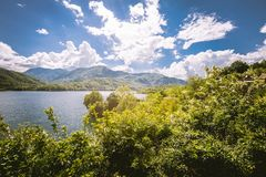 Panorama of a lake with green vegetation around. Natural basin with forest and mountains. royalty free stock photos