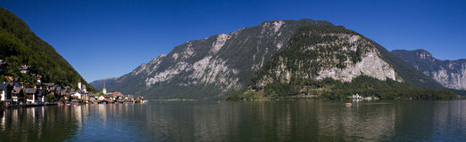 Panorama of Lake Hallstatt Royalty Free Stock Photography