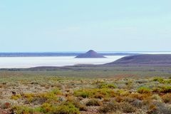 Panorama of Lake Hart, a colorful salt lake landscape in the Australian Outback Stock Photography