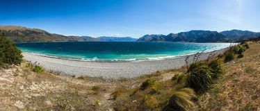 Panorama of lake Hawea, New Zealand stock image