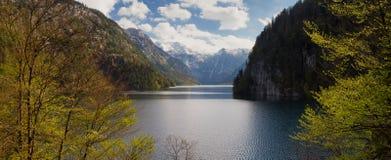 Panorama Lake Koenigssee as seen from lookout Malerwinkel Royalty Free Stock Image