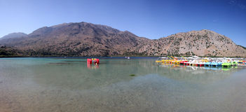 Panorama of Lake Kournas, in Crete Stock Photos