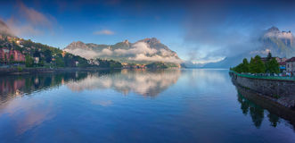 Panorama of the lake Lecco Stock Photography