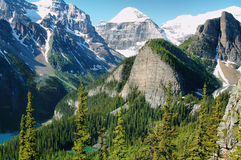 Panorama of Lake Louise from Little Beehive Royalty Free Stock Photo