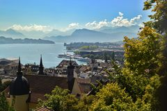 Panorama of Lake Lucerne from the clock tower. stock photos