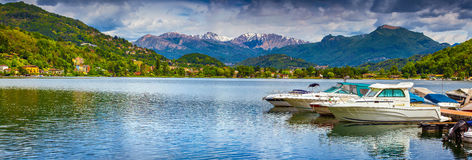 Panorama of Lake Lugano Stock Photography