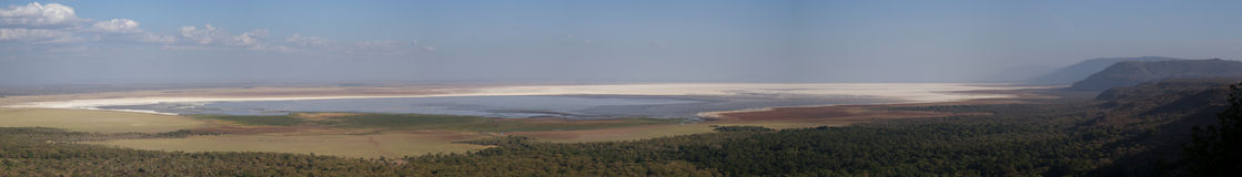 Panorama of Lake Manyara Stock Image