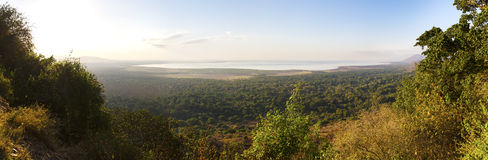 Panorama of Lake Manyara in Africa Stock Photography