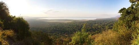 Panorama of Lake Manyara in Africa stock photography