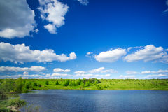 Panorama of lake, meadow and blue sky. Royalty Free Stock Photos