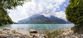 Panorama of lake Molveno in Italy Stock Images