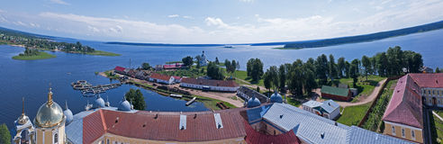 Panorama lake monastery Stock Photography