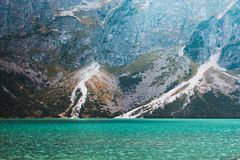 Panorama of the lake Morskie Oko in the Tatra mountains, Poland royalty free stock photography
