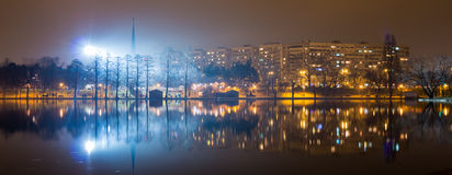 Panorama lake by night Royalty Free Stock Photos