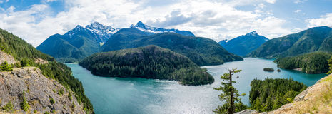 Panorama of Lake. In the North Cascades National Forest Royalty Free Stock Photos