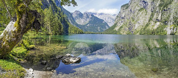 Panorama lake Obersee. Panorama of lake Obersee in Berchtesgaden, Bavaria, Germany Stock Photography