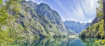 Panorama lake Obersee. Panorama of lake Obersee in Berchtesgaden, Bavaria, Germany Royalty Free Stock Images