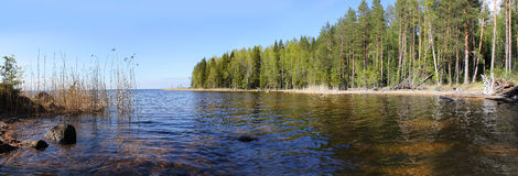 Panorama of Lake Onega, Karelia, Russia Stock Images