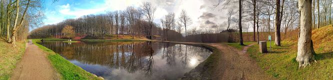 Panorama of the lake. In the park Royalty Free Stock Image