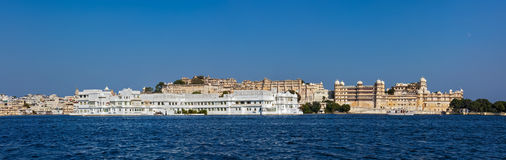 Panorama of Lake Pichola, Lake palace and City Palace. Udaipur, Royalty Free Stock Images
