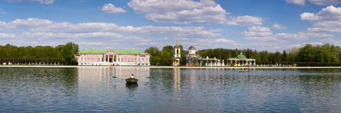 Panorama of the lake and picturesque shores with tourists during the weekends people in the city Park. Moscow. Russia. Stock Image