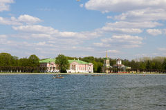 Panorama of the lake and picturesque shores with tourists during the weekends people in the city Park. Moscow. Russia. Royalty Free Stock Images