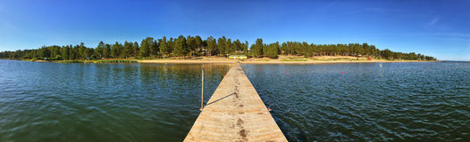 Panorama of Lake Pier on a Sunny Summer Day Royalty Free Stock Photography