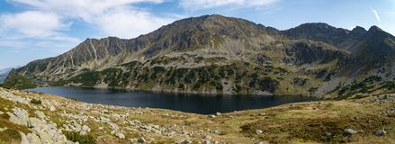 Panorama of Lake in the Poland mountains in Five Polish Ponds Valley stock images