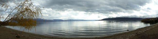 Panorama of Lake Prespa Stock Images
